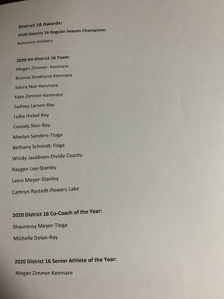 District 16 Volleyball Awards 2020