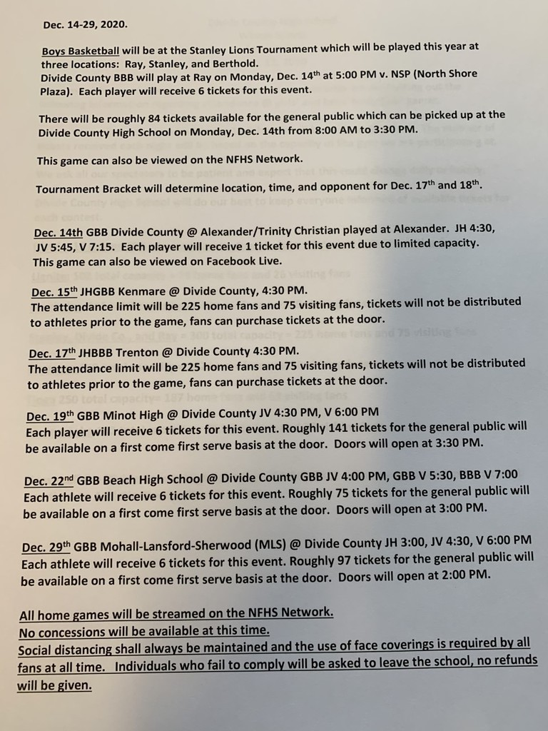 DC Girls and Boys Basketball Games and Attendance Protocol for Dec. 14-29, 2020