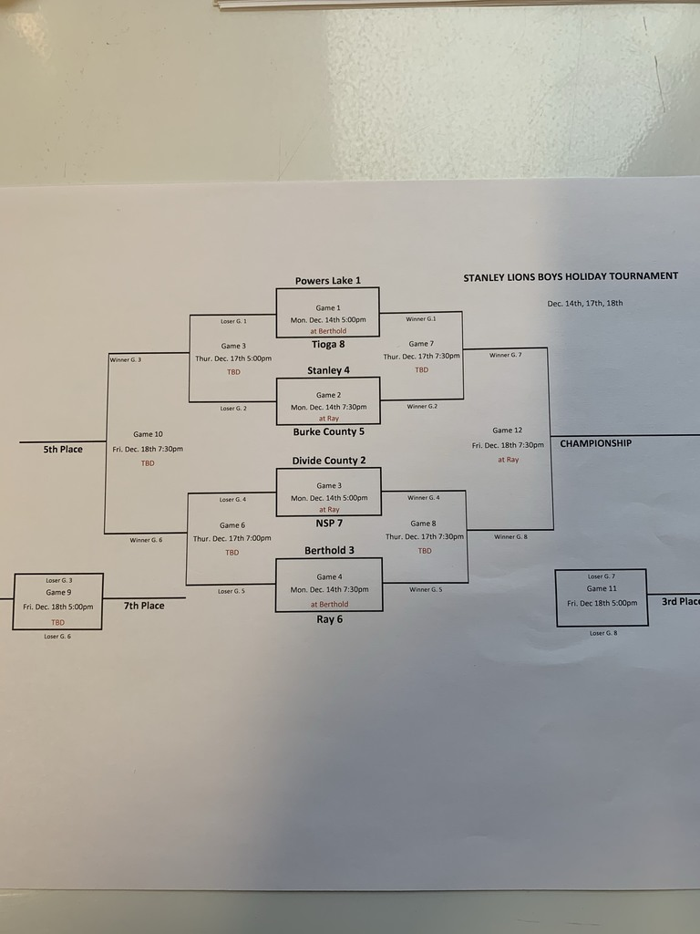 Stanley Lions Varsity Boys Basketball Tournament Bracket Dec. 14, 17, 18, 2020