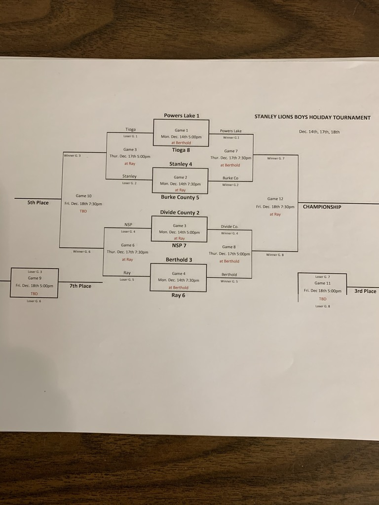 Stanley Lions Tournament Bracket for Thur. Dec. 17th, 2020