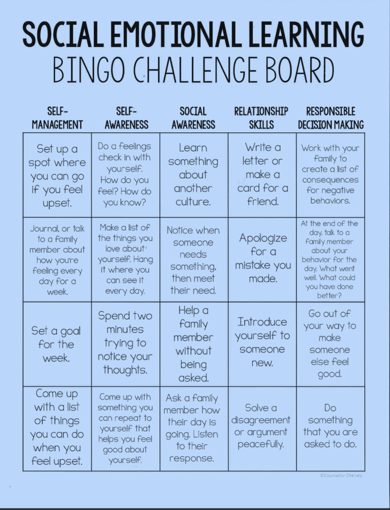 Social Emotional Bingo Board