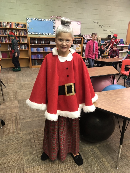 Mrs. Claus is really looking the part for the Grades 4-6 Christmas Program tonight. Love it!