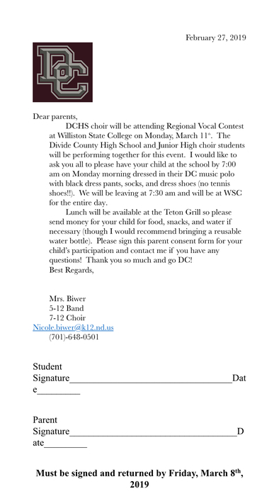 Please sign and return to Mrs. Biwer by Friday, March 8th!
