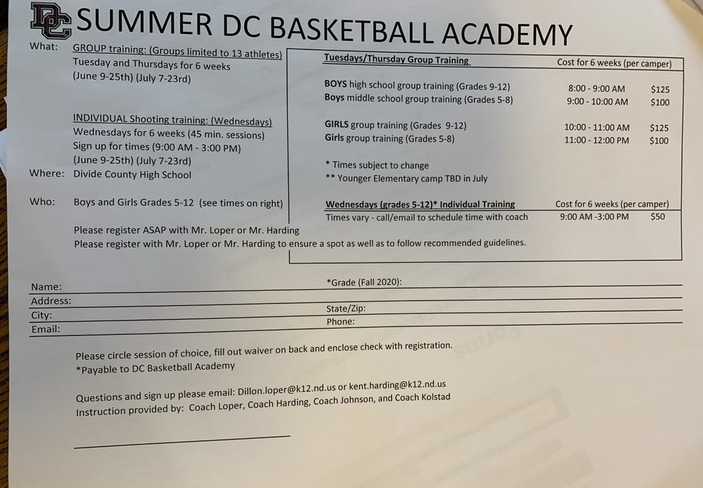 Summer Basketball Academy 2020